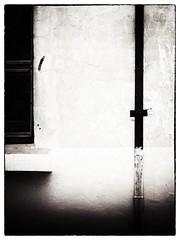 urban abstract #1 (Pomo photos) Tags: urban abstract art minimalism minimalistic window black blackandwhite blackwhite bw mono monochrome concrete line lines geometry construction contrast olympus epl8 shadow light wall street decay lost details spot old spots paint lime texture cross pomo pomophotos