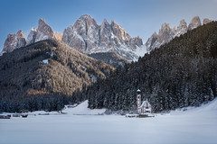 In every season (inkasinclair) Tags: winter snow church dolomites st johann san giovanni val di funes south tyrol italy mountains trees sunset last light golden hour odle mountain range