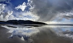 Playing harp for the fishes (pauldunn52) Tags: dunraven beach glamorgan heritage coast wales southerndown witches point shower cloud reflection