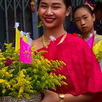 Thai People in Traditional Dress Waiting to Join the Chiang Mai Flower Festival Parade 163 thumbnail