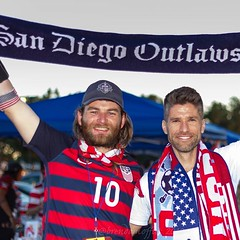 Soccer commentator and retired #usmnt player #KyleMartino (left), who is running for US Soccer President, with an @ao_sandiego @americanoutlaws member at the tailgate before the #usavbih game in January.  See more photos from the January #uswnt and USMNT (bamoffitteventphotos) Tags: ifttt instagram kylemartino ussoccer usmnt soccerplayer sandiegooutlaws americanoutlawssandiego americanoutlaws usavsbih usavbih soccerfans soccerscarf stubhubcenter carson california usa northamerica tailgate scarvesup canon7d teamcanon niftyfifty
