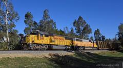 Sunday on the Crestmore & Western-I (GRNDMND) Tags: trains railroads unionpacific up locomotive emd sd60 jurupavalley california