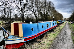 Colourful Boat (John of Witney) Tags: processed barge canalboat canal oxfordcanal blue boat