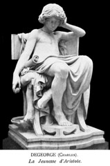 Charles Jean Marie Degeorge (1837-1888) Jeunesse d'Aristote (The Youth of Aristotle) front right (1875) (ketrin1407) Tags: charlesdegeorge aristotle statue sculpture seminude draped seated marble victorian youth study blackandwhite monochrome blackbackground