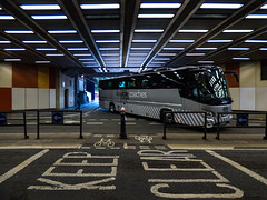 Likeable Coaches - London (Steve Taylor (Photography)) Tags: likeablecoaches london coach keepclear cycleway oneway beechstreet tunnel architecture sign road street grey blue silver black brown tarmac women lady woman uk gb england greatbritain unitedkingdom perspective reflection