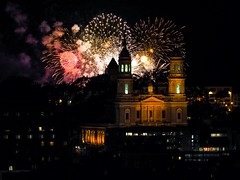 Oh just your typical Monday night in San Francisco ... (g1rlwithacurl) Tags: g1rlwithacurl fireworks pyrotechnics sf sanfrancisco church stignatius usf silhouette