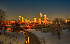 Charlotte nc usa skyline during and after winter snow storm in january (DigiDreamGrafix.com) Tags: snow winter usa skyline january storm charlotte nc danger dangerous traffic modern architecture city night evening bad buildings structures southeast conditions slippery slick frozen cold morning shutdown closure early calm quiet streets commute stayhome