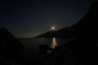 Full moon over the Aegean Ocean