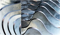 Elements.                           Explore 3/2/18 (Photography by Julia Martin) Tags: photographybyjuliamartin elements largemetalsculpture representingwaves shabbychic metallic silvery gold goucester collage diptych reflectedlight shiny