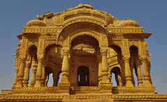 Ancient temple on desert in Jaisalmer, India (phuong.sg@gmail.com) Tags: ancient architecture asia asian beautiful brick building castle city cityscape culture destination empire famous fort fortification golden haveli heat historic historical history house india indian jaisalmer landmark monument old outdoors palace place rajasthan sandstone spiritual spirituality stones temple tourism traditional travel vista yellow