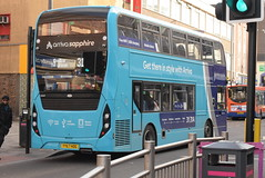 AMN 4541 @ Leicester Haymarket bus station (ianjpoole) Tags: arriva midlands alexander dennis enviro 400mmc yy67hdg 4541 working sapphire route 31 leicester haymarket bus station hamble road oadby