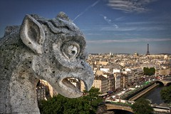 Impossible view of Paris from Notre-Dame (woto) Tags: france paris sculpture chimera arte gargoyles grifos quimeras piedra stone hdr