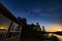 Fish Camp Moonrise Colors (matthewkaz) Tags: sky night stars milkyway astrophotography astronomy moon moonrise reflection reflections cabin cottage fishcamp fishing zigzag zigzaglake lake water wildernessnorth trees silhouette ontario canada window windows 2017