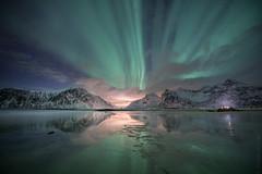Norvegian sky (nicointhebus (nicolas monnot)) Tags: norway lofoten skagsanden northen light aurora borealis landscape nature night moutain moutains