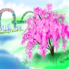 LANDSCAPE PARADISE BLOOMING TREES deep pink (dinosaurty) Tags: paradise promise bible god blooming soon goal liveforever bestlife manspurpose novel reality prophecy reliable tree cherry higan