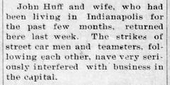 1913 - John Huff and wife return from Indy - Enquirer - 11 Dec 1913