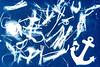 Flotsam and Jetsam Sunprint (fstop186) Tags: flotsamandjetsam sunprint cyanotype beach sunography blueprint anchor seaside leeonthesolent solent flotsam jetsam blue cyan prussianblue
