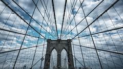 Brooklyn Bridge (svpe4711) Tags: usa d750 flag manhattan himmel city vacation newyork brooklynbridge brooklyn america blue urban ny wires travel nyc blau architecture sky bluesky usflag bridge clouds blauerhimmel