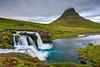 Peak in the Clouds (supra455) Tags: aqua clouds exposure green hdr iceland kirkjufell kirkjufellsfoss long mountain peninsula snaefellsnes snæfellsnes waterfall is