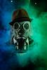 Mascara de gas (Cristian_Al93) Tags: humo gas sovietica mascara color colores filtro verde azul sombrero guerra ataque biologico retrato portrait fotografia