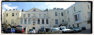 Royal Victoria Apartments in May 2017 which use to be a hotel, High street, Swanage, Dorset. England.