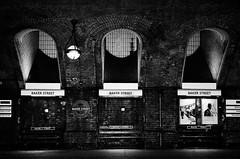 Baker Street Tube Station (andycurrey2) Tags: blackandwhite monochrome bnw film analogue london underground transport contrast station border leica