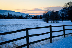 the day is done (Jessie T*) Tags: kamloopsbc canada landscape sky sunset dusk winter snow fence farm