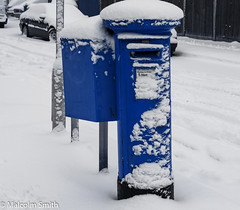 Snow Post Box (M C Smith) Tags: snow blue post box pentax k7 cars lamp parked road pavement letters numbers fence tracks grey