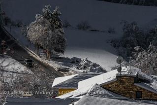 Andorra rural winter landscape: Ordino, Vall nord, Andorra