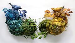 Blue Warbler, Yellow Warbler (amyla174) Tags: amygross art artwork fiberart fiber fibersculpture warbler sculpture paper momentumgallery