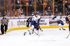 """Kansas City Mavericks vs. Toledo Walleye, January 20, 2018, Silverstein Eye Centers Arena, Independence, Missouri.  Photo: © John Howe / Howe Creative Photography, all rights reserved 2018. • <a style=""""font-size:0.8em;"""" href=""""http://www.flickr.com/photos/134016632@N02/25966336468/"""" target=""""_blank"""">View on Flickr</a>"""