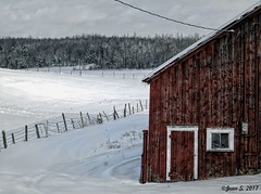 ... (Jean S..) Tags: landscape winter snow cold ice trees barn window door fence white clouds rural ruralscene red ulverton