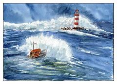 sauvetage (ybipbip) Tags: aquarelle aquarell akvraell acuarela water watercolor watercolour pintura paint painting marine marin mer mare sea seascape landscape cloud wind lighthouse
