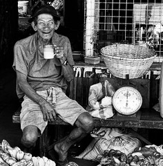 Happy (Beegee49) Tags: elderly trader smiling happy drinking tea bacolod city philippines