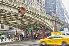 Pershing Square (JMS2) Tags: snowstorm cab overpass 42ndstreet nyc manhattan street storefront urban cold winter