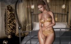 The golden tones (desiredarkrose) Tags: lingerie supernatural {vision} elysion bedroom jewellery goldentones woman blonde secondlife secondlifefashion sl epiphanygacha