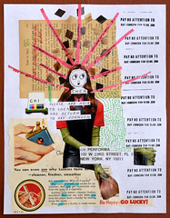 111 - Relationship CXI (PLEASE ADD HAIR TO CHER AND RETURN TO RAY JOHNSON c/o PERFORMA) (fanclub13) Tags: rjfc collage collageart trashart rayjohnsonfanclub streetart destijl recycling trashcollage pleaseaddtoandreturnto rayjohnson bookpages
