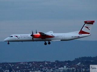 Austrian Airlines DHC-8-Q402 OE-LGN landing at STR/EDDS