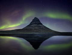 Aurora Borealis (tothfrantisek) Tags: iceland kirkjufell auroraborealis northernlights landscape nightscape reflection mountain stars