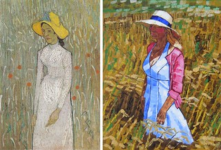 Young Girl Standing against a Background of Wheat by Van Gogh 1890 and Middle Aged Lady by  Anthony D. Padgett 2017