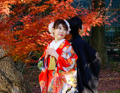 A couple wearing kimono at the park (phuong.sg@gmail.com) Tags: asia asian beauty cloth clothes clothing colorful costume couple culture cute day destinations dress editorial fashion fashionable female garment geisha gion japan japanese kimono kyoto lifestyle light married pathway people portrait posing red scenery session street temple town tradition traditional travel urban walking wearing women