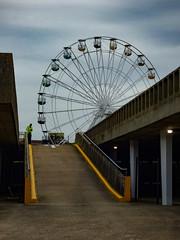 I Think We Need A Big Wheel Clamp (Steve Taylor (Photography)) Tags: bigwheel warden carpark arrows architecture column grey yellow brown uk gb england greatbritain unitedkingdom margate ramp dreamland