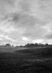 fog (sephrocker) Tags: fog blackandwhite monochromatic bw landscape skies clouds storm weather hills trees field