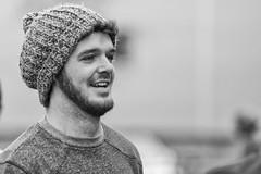 Bearded smiler (Frank Fullard) Tags: frankfullard fullard candid street portrait cap beanie beard smile happy outgoing irish irelandmonochrome face blackandwhite