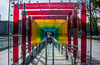 2018 - Mexico City - Centro de Culture Digital (Ted's photos - For Me & You) Tags: 2018 cdmx cityofmexico cropped mexico mexicocity nikon nikond750 nikonfx tedmcgrath tedsphotos tedsphotosmexico vignetting centrodeculturedigital entrance chains chainedup shadows railing ramp doorway colorful colourful red redrule