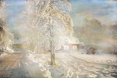 My favorite village (BirgittaSjostedt_away until 24 Febrtuary) Tags: winter snow houses nature village landscape track pathway outdoor texture paint birgittasjostedt