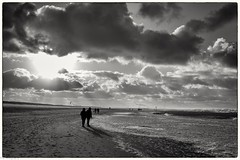 on the beach (fhenkemeyer) Tags: walkers shadows water sun clouds winter beach netherlands nl kijkduin denhaag