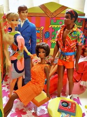 GROOVY THREADS (ModBarbieLover) Tags: talking barbie ken brad christie doll fashion mattel mod groovy psychedelic colours paisley shorts toys 1968 1971 house
