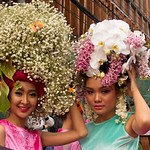Thai People in Traditional Dress Waiting to Join the Chiang Mai Flower Festival Parade 169 thumbnail
