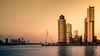 Rotterdam skyline (hboudeling) Tags: rotterdam zuidholland netherlands nl the holland golden hour architecture hotelnewyork hollandamerikalijn kopvanzuid maas erasmusbrug erasmusbridge goldenhour city skyline longexposure
